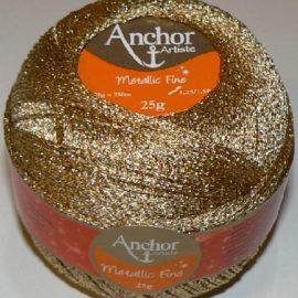 anchor artiste metallic fine crochet thread gold   p