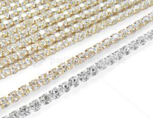 strassborte strassband gold silber