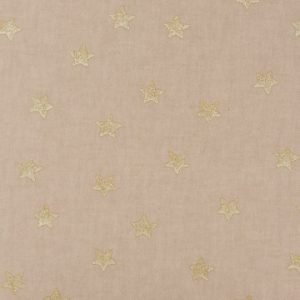 Stoff natur Sterne gold
