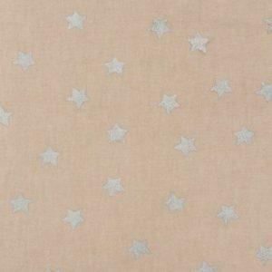 Stoff natur Sterne silber