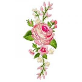 Bügelbild Applikation Aufnäher Rosen Blumen rosa pink