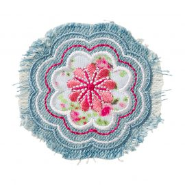 jeanspatch rund mit blumenstickerei pink r  cm